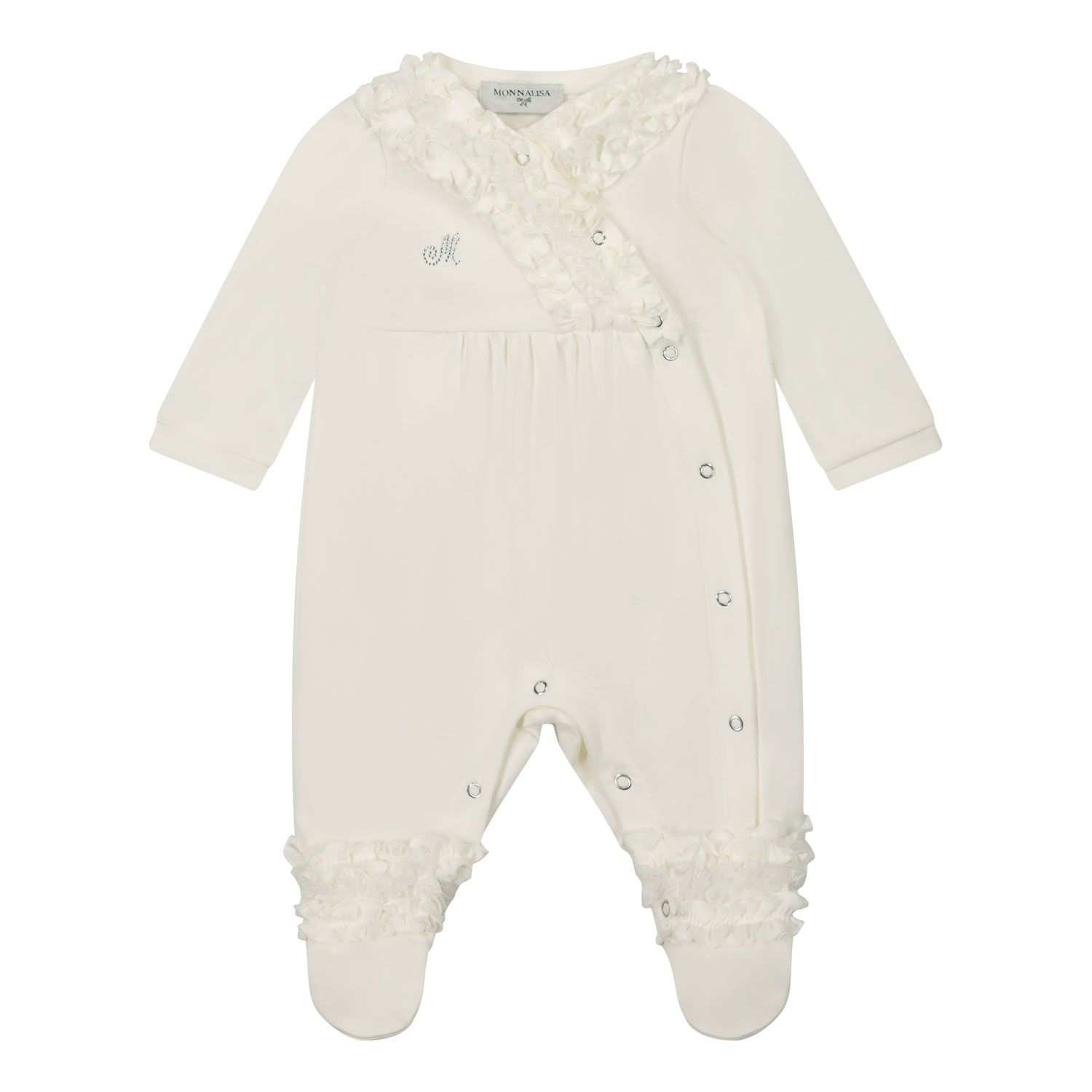 Picture of MonnaLisa 357205 baby playsuit off white