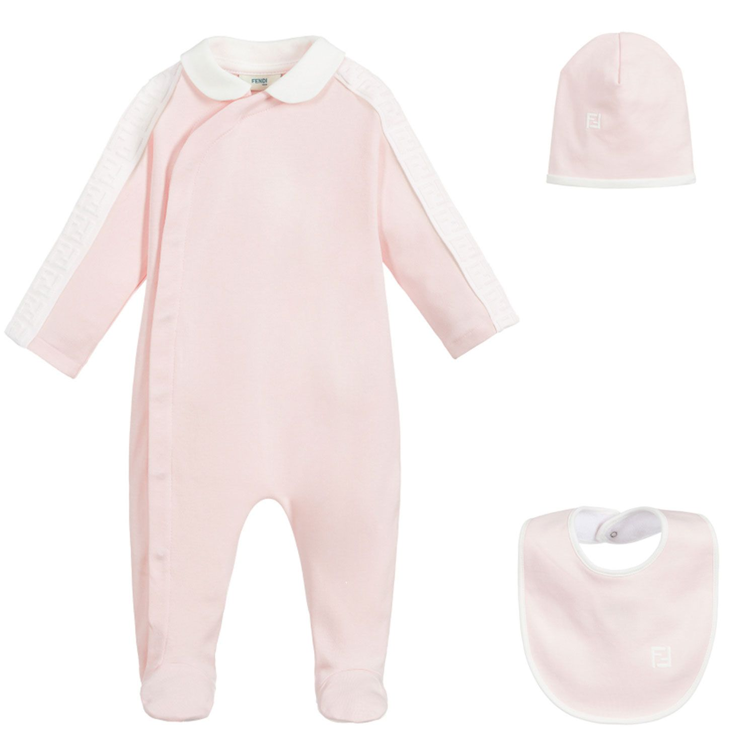 Picture of Fendi BUK062 baby playsuit light pink