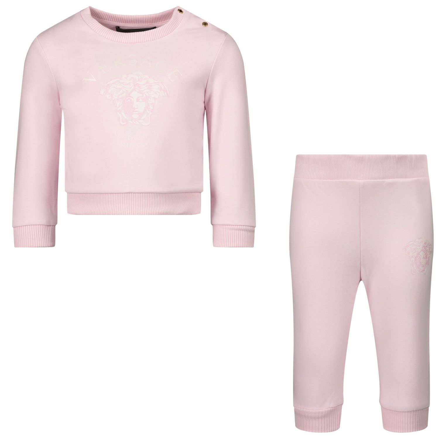 Picture of Versace 1000308 baby sweatsuit light pink