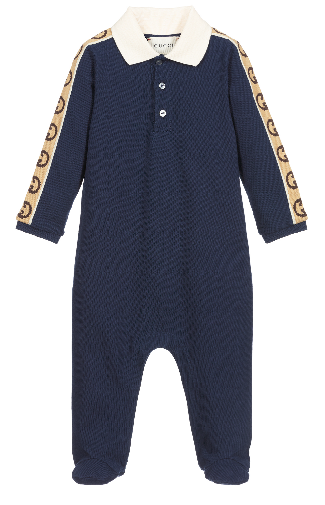Picture of Gucci 627090 baby playsuit navy