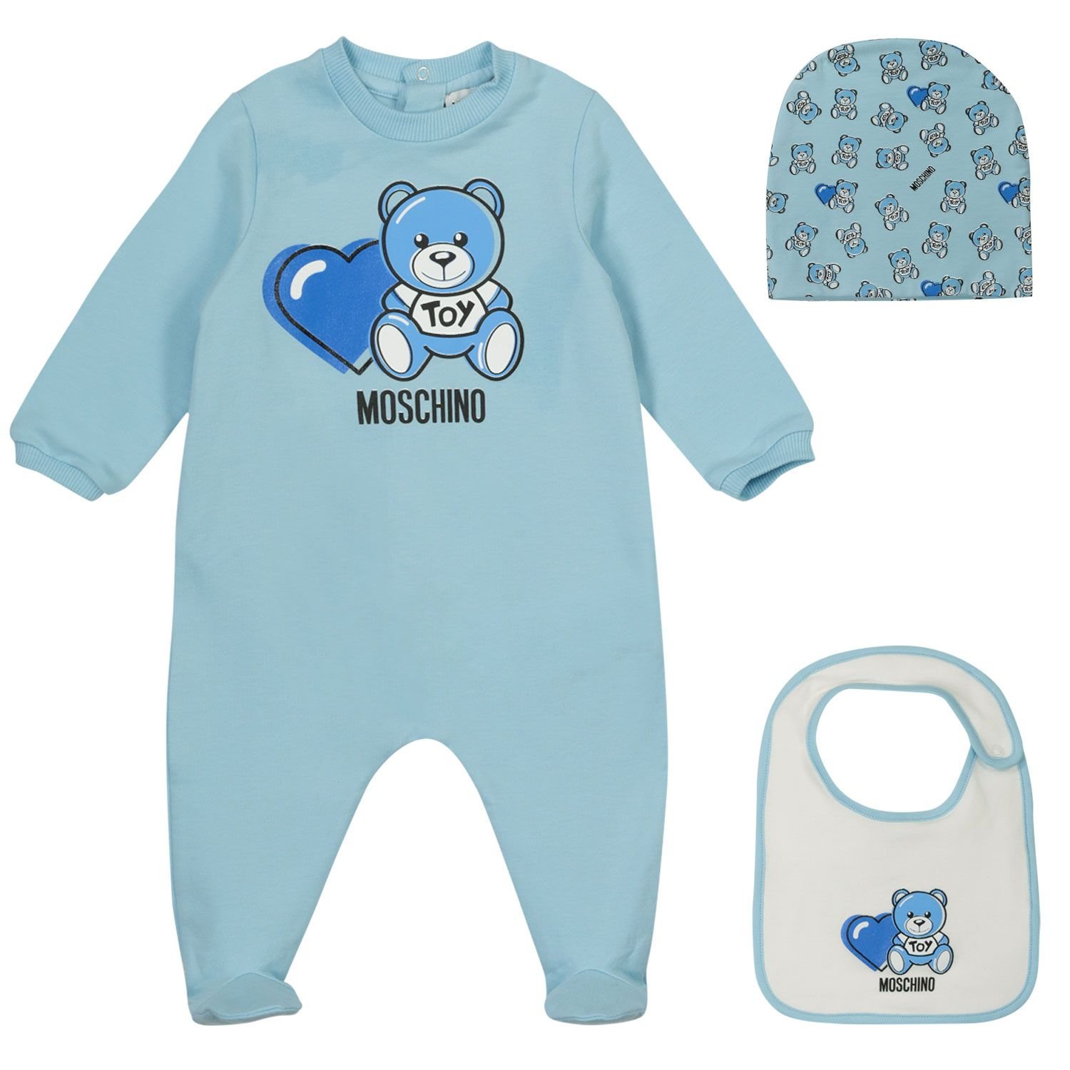 Picture of Moschino MUY03C baby playsuit light blue