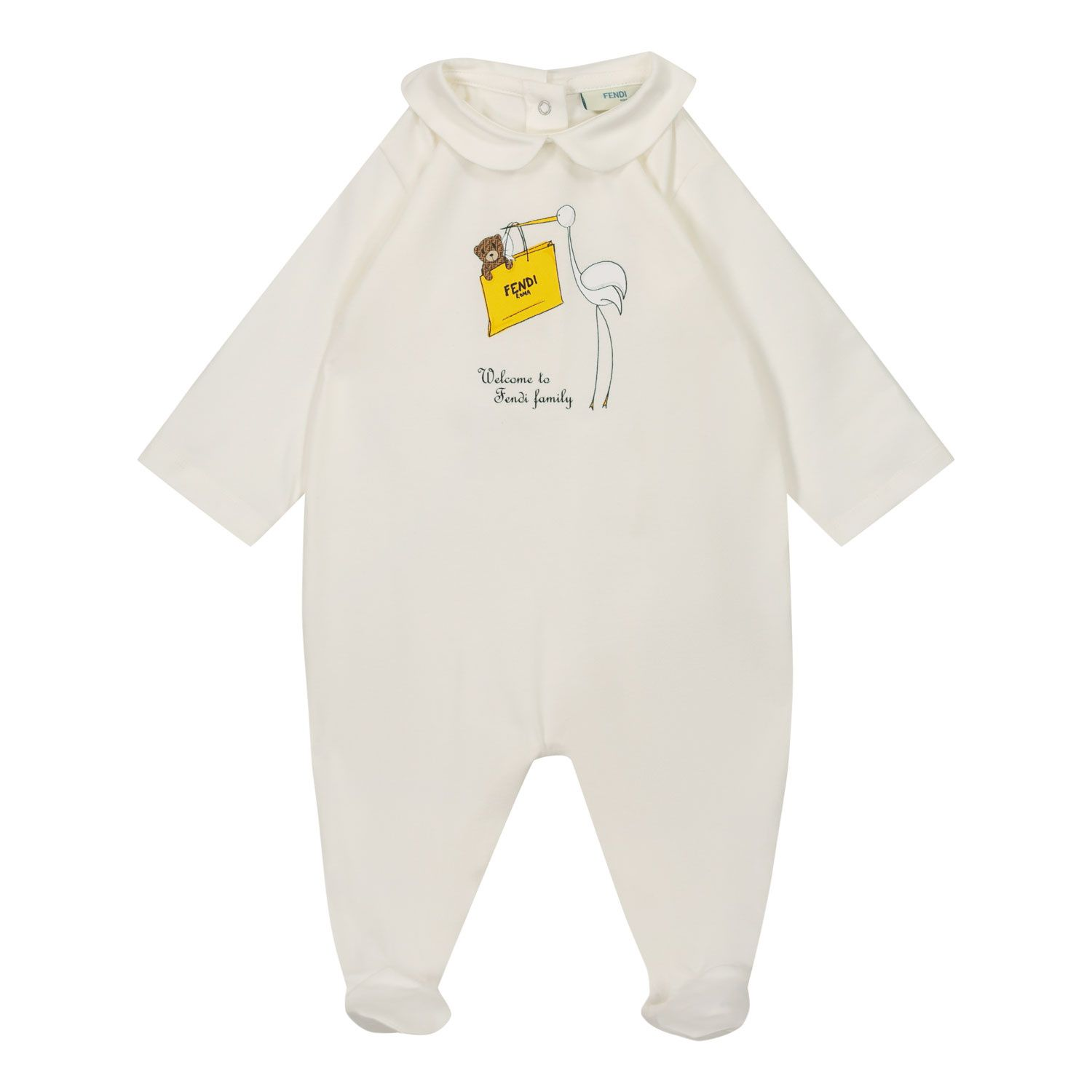 Picture of Fendi BUK078 ST8 baby playsuit white