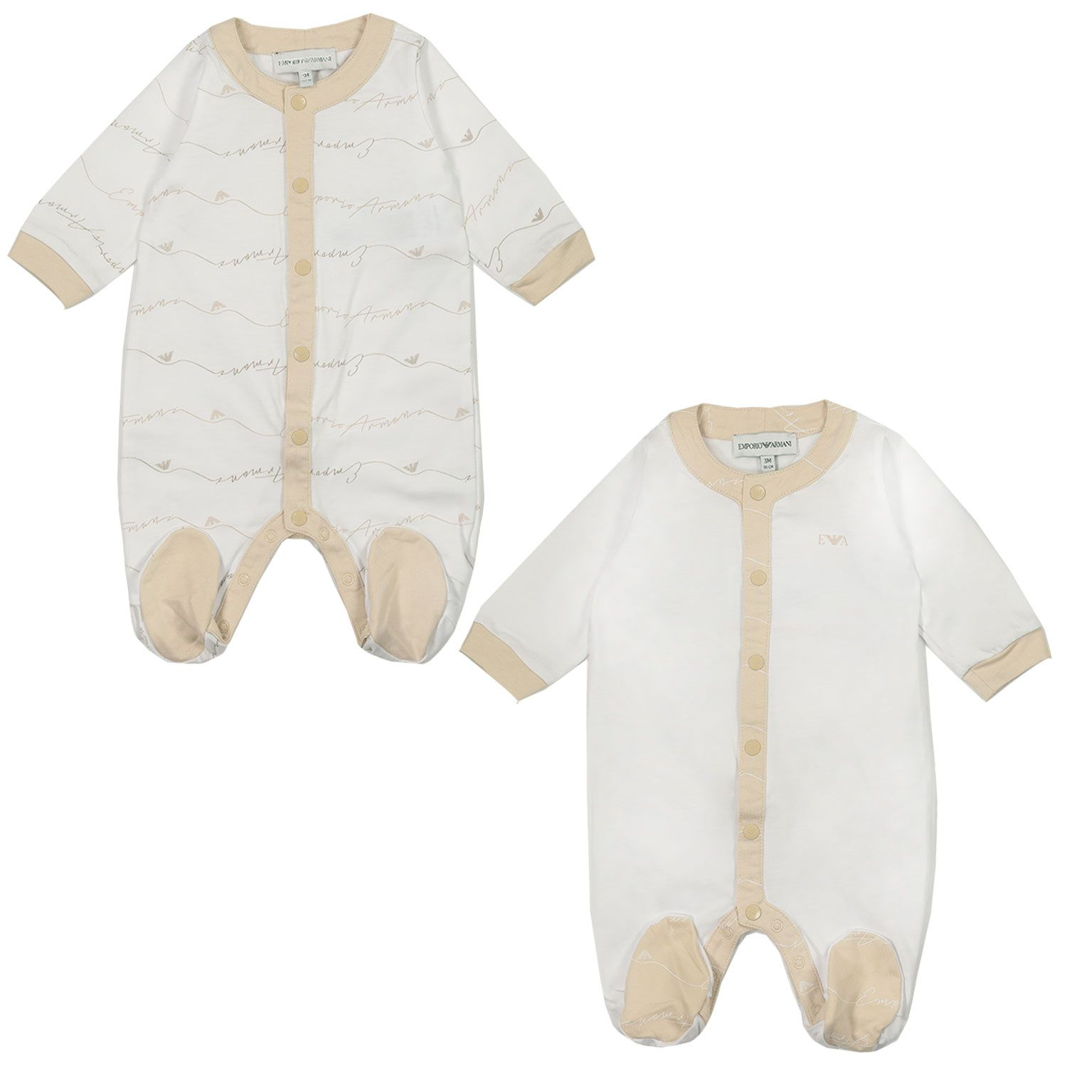 Picture of Armani 8NHV07 baby playsuit beige