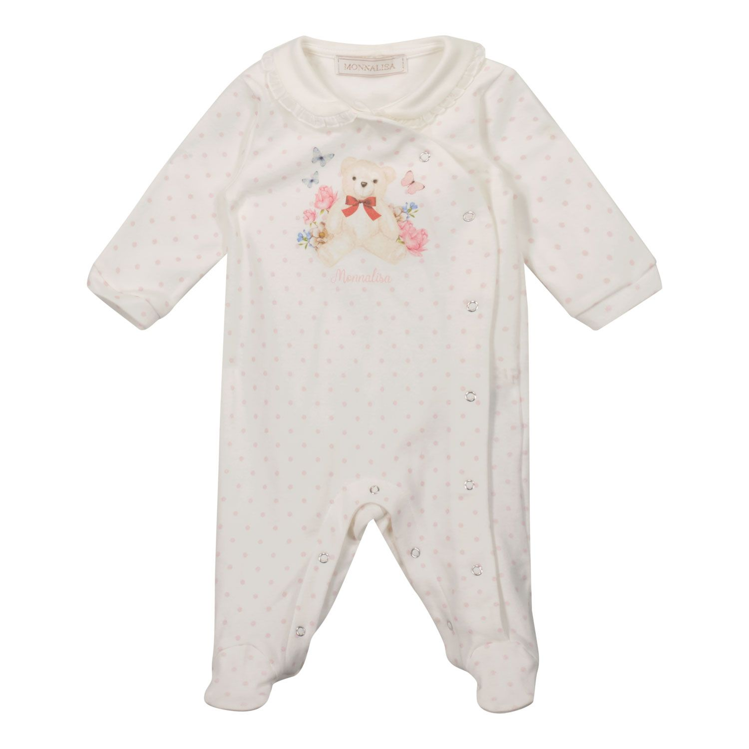 Picture of MonnaLisa 358209PF baby playsuit white