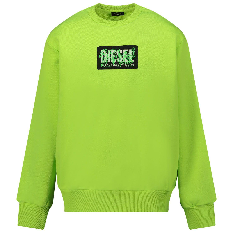 Afbeelding van Diesel J00098 kindertrui fluor groen