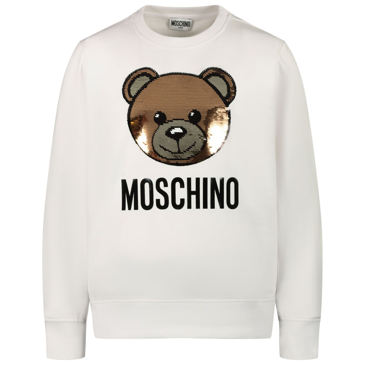 Picture of Moschino HRF039 kids sweater off white