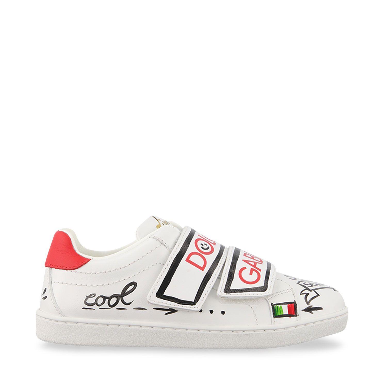 Afbeelding van Dolce & Gabbana E10902 B6302 kindersneakers rood/wit