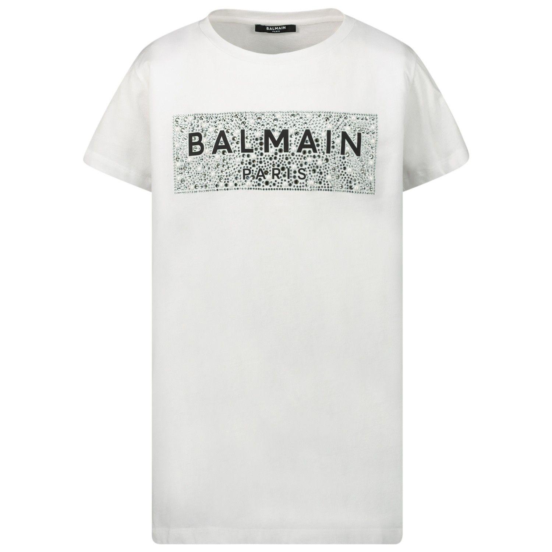 Picture of Balmain 6M8001 kids t-shirt white