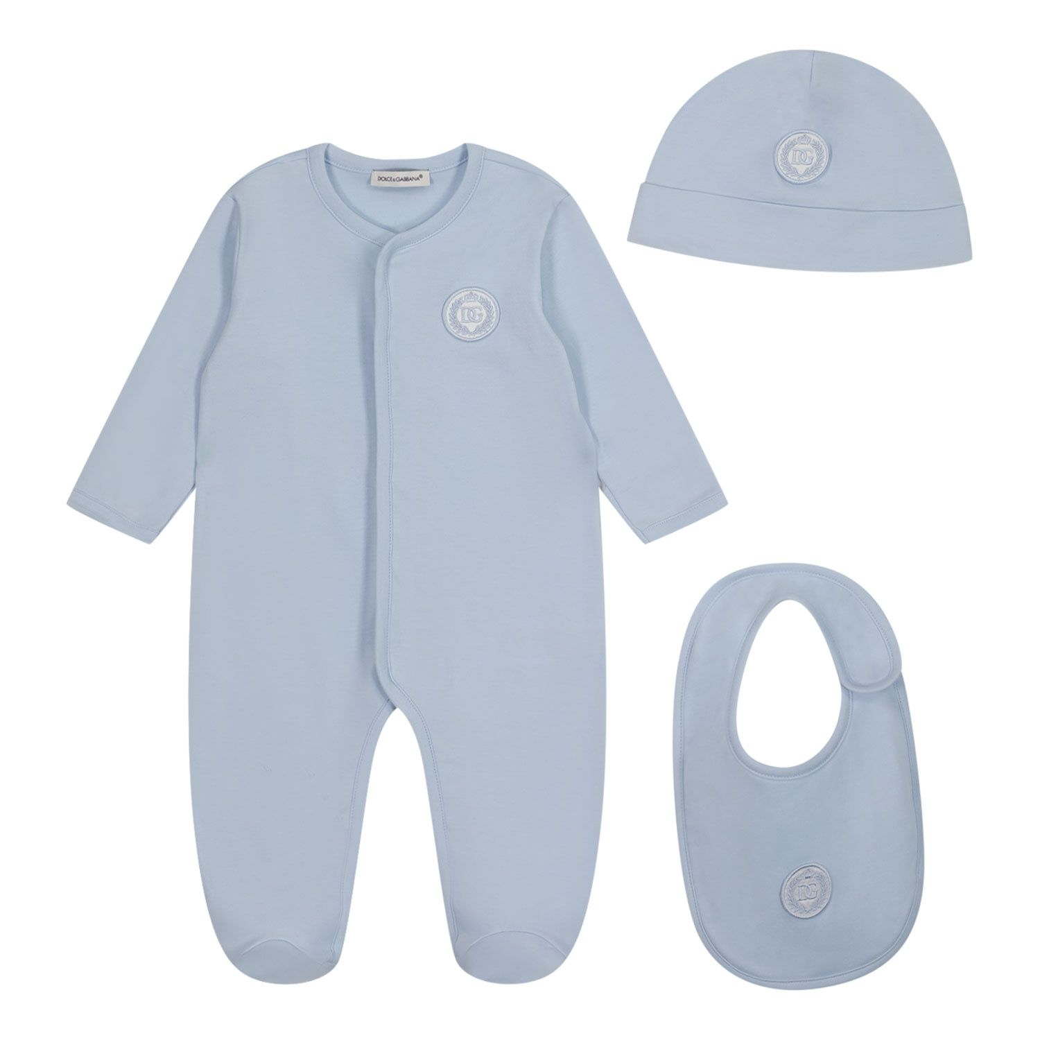 Picture of Dolce & Gabbana L1JG24 G7XFA baby playsuit light blue