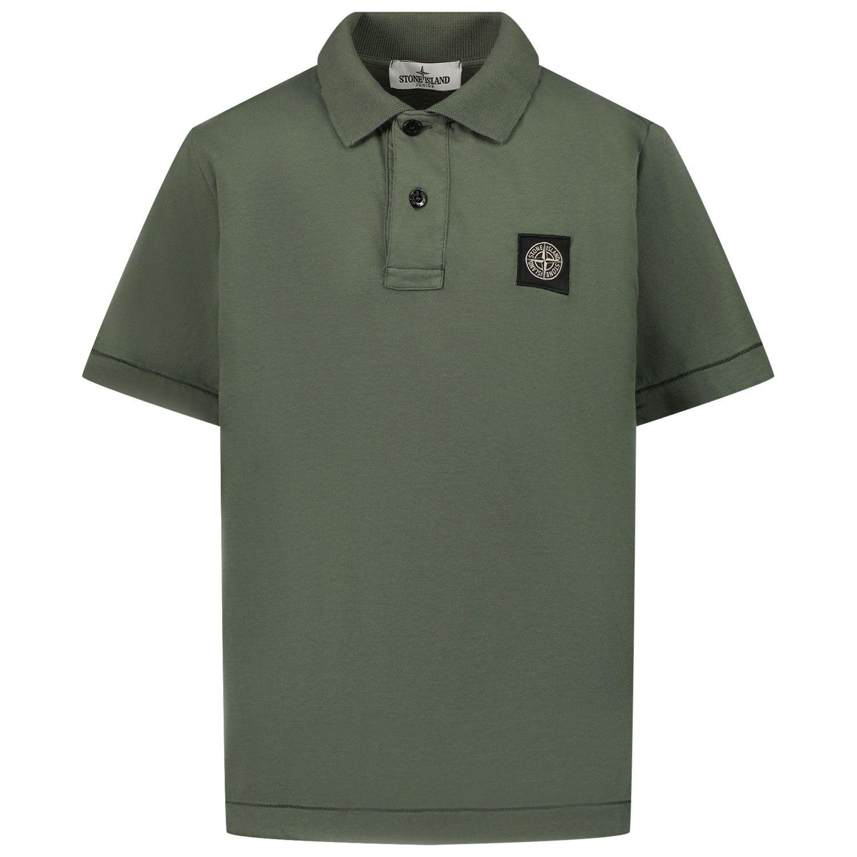 Picture of Stone Island 20247 kids polo shirt dark green