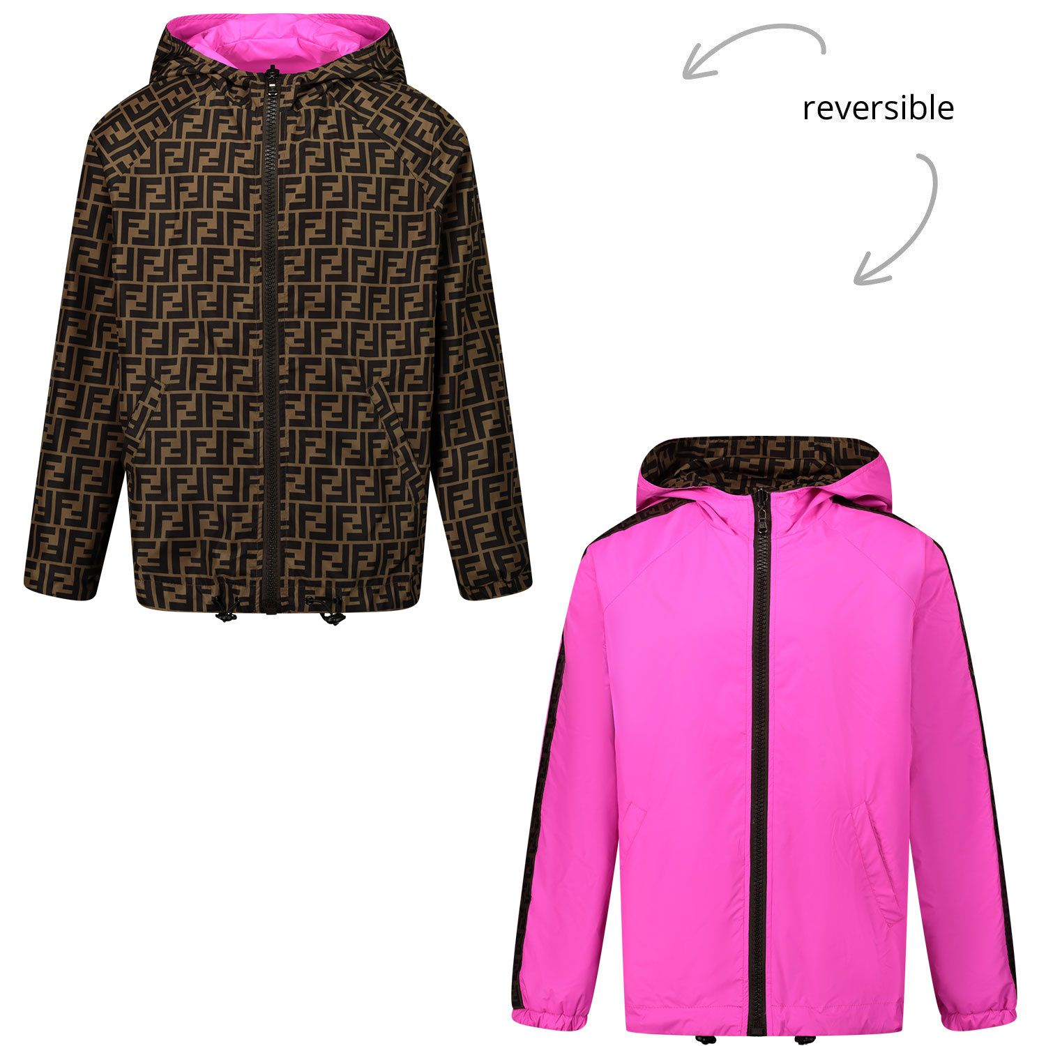 Picture of Fendi JUA092 AEYC kids jacket fuchsia