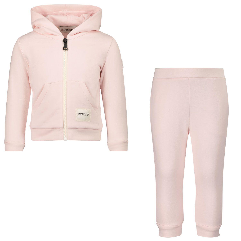 Afbeelding van Moncler 8M76400 baby joggingpak licht roze