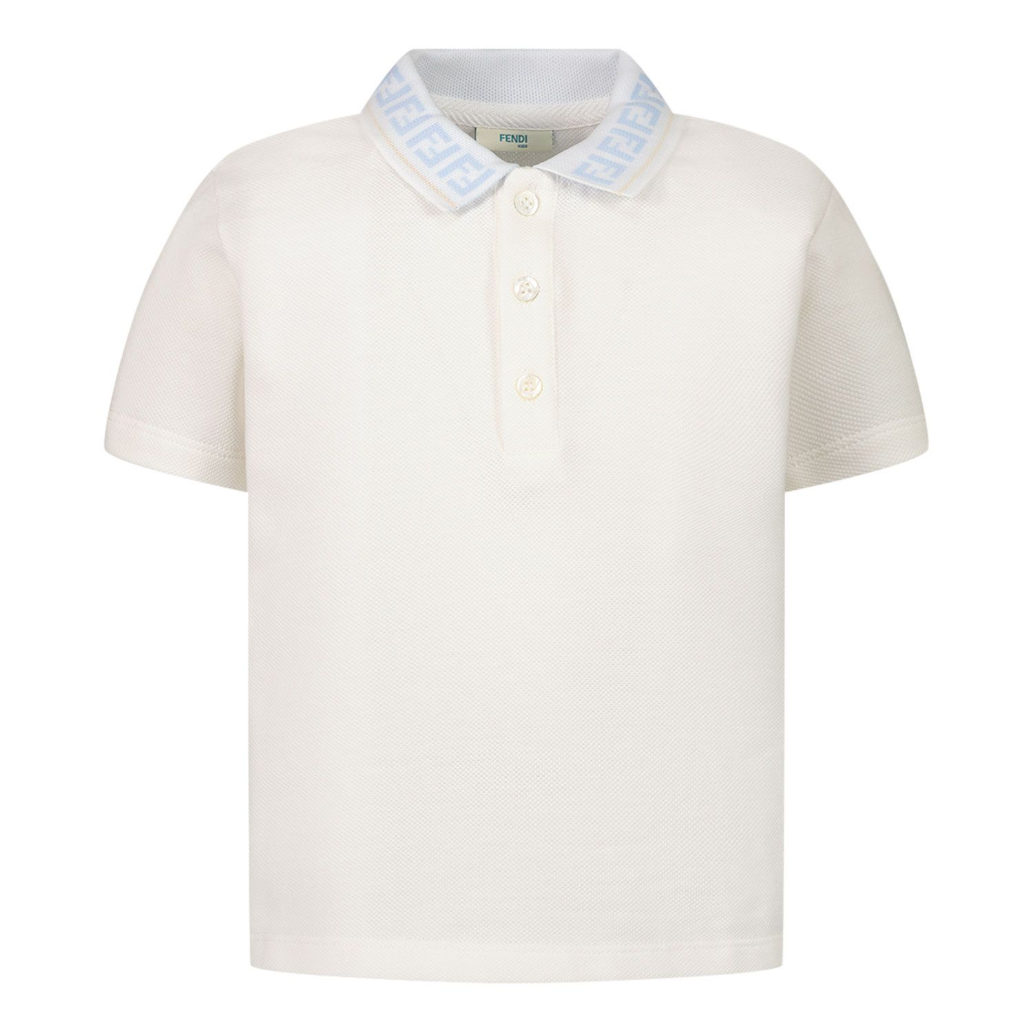 Picture of Fendi BMI218 AVP baby poloshirt white