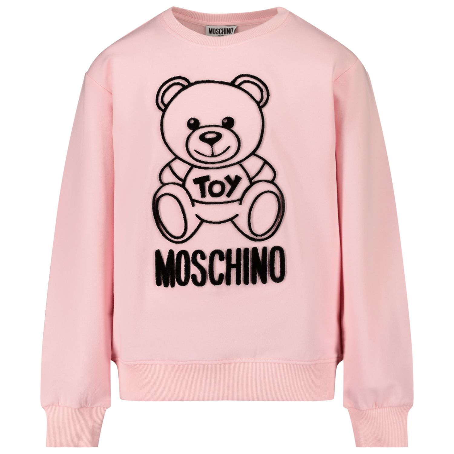 Picture of Moschino HMF043 kids sweater light pink