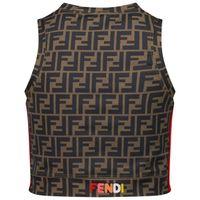 Picture of Fendi JFI229 ADF3 kids t-shirt brown