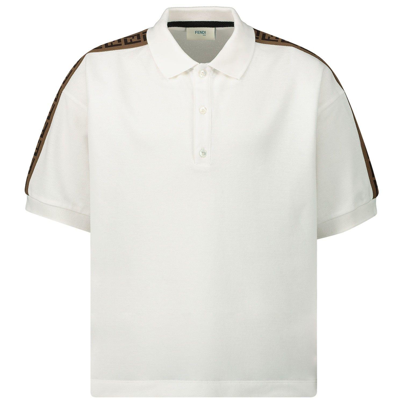 Picture of Fendi JMI322 kids polo shirt white