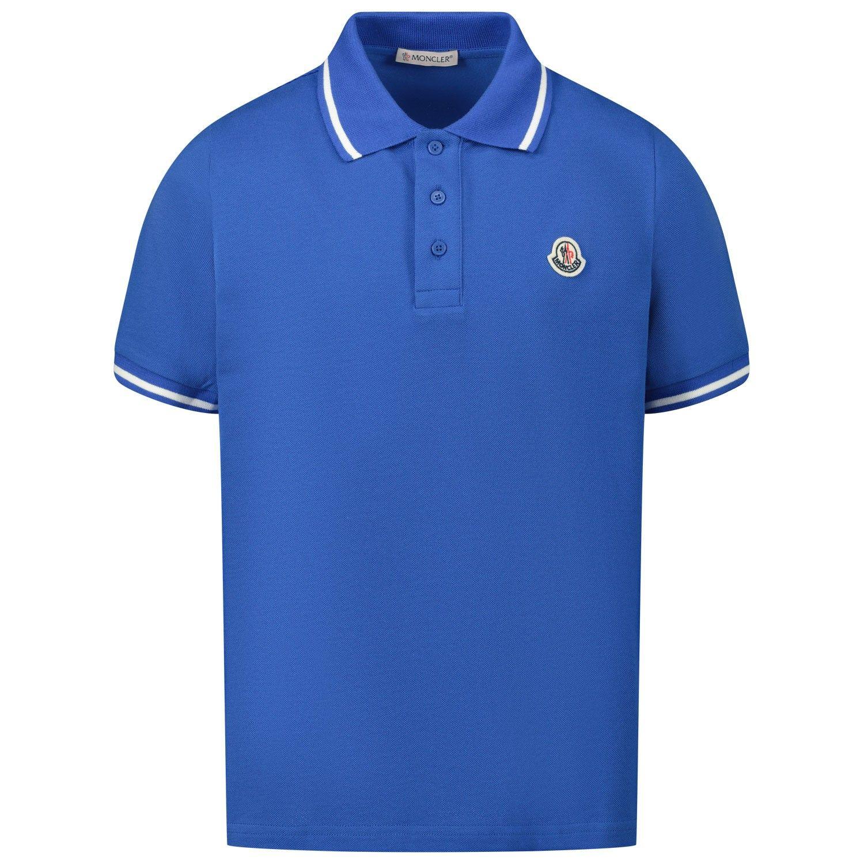 Afbeelding van Moncler 8A70420 kinder polo blauw