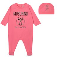 Picture of Moschino MMY02T baby playsuit pink