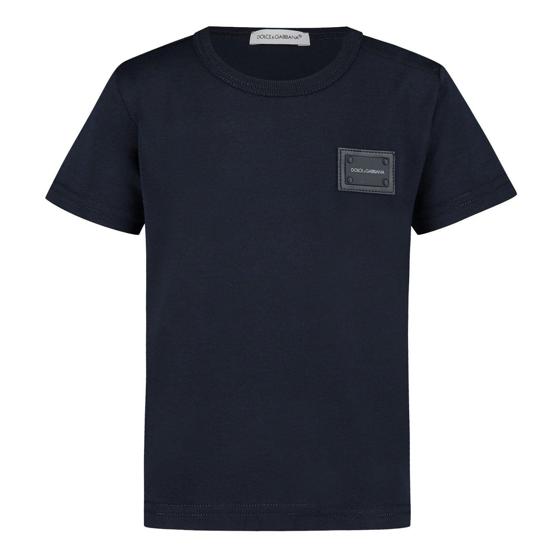Picture of Dolce & Gabbana L1JT7T/G7OLK kids t-shirt navy