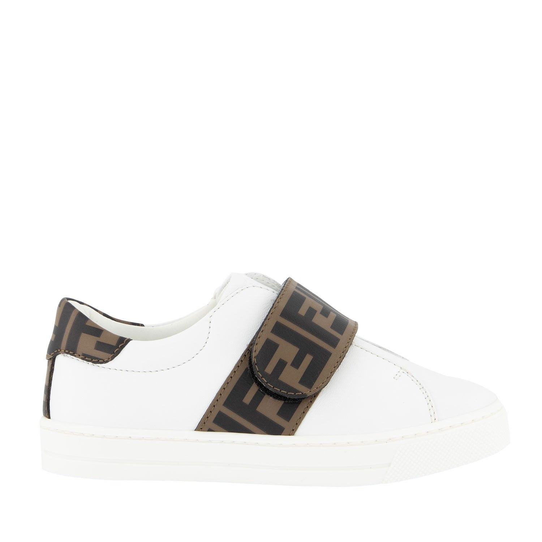 Picture of Fendi JMR326 kids sneakers white