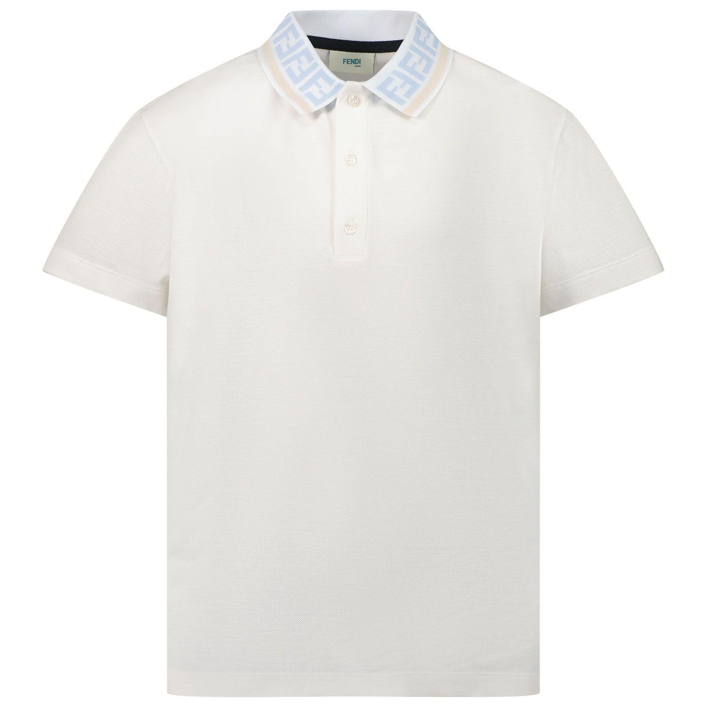 Picture of Fendi JMI365 AVP kids polo shirt white