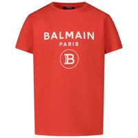 Picture of Balmain 6M8701 kids t-shirt red