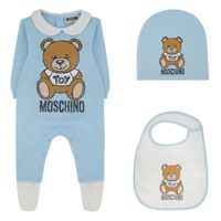 Picture of Moschino MUY033 baby playsuit light blue