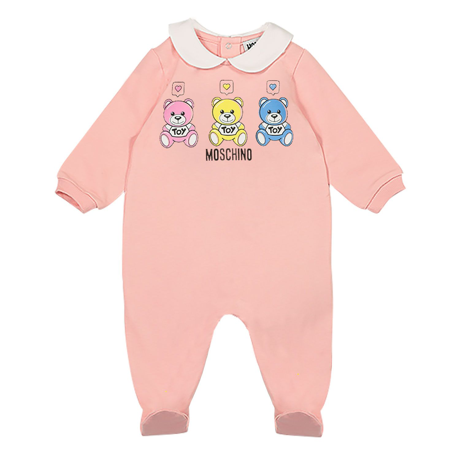 Picture of Moschino MNT01O baby playsuit pink