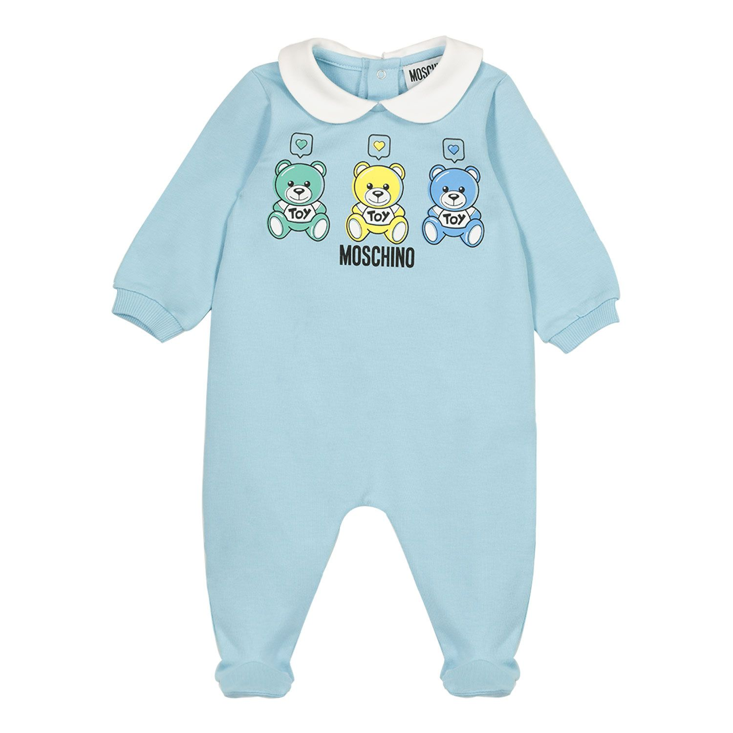 Picture of Moschino MNT01O baby playsuit light blue