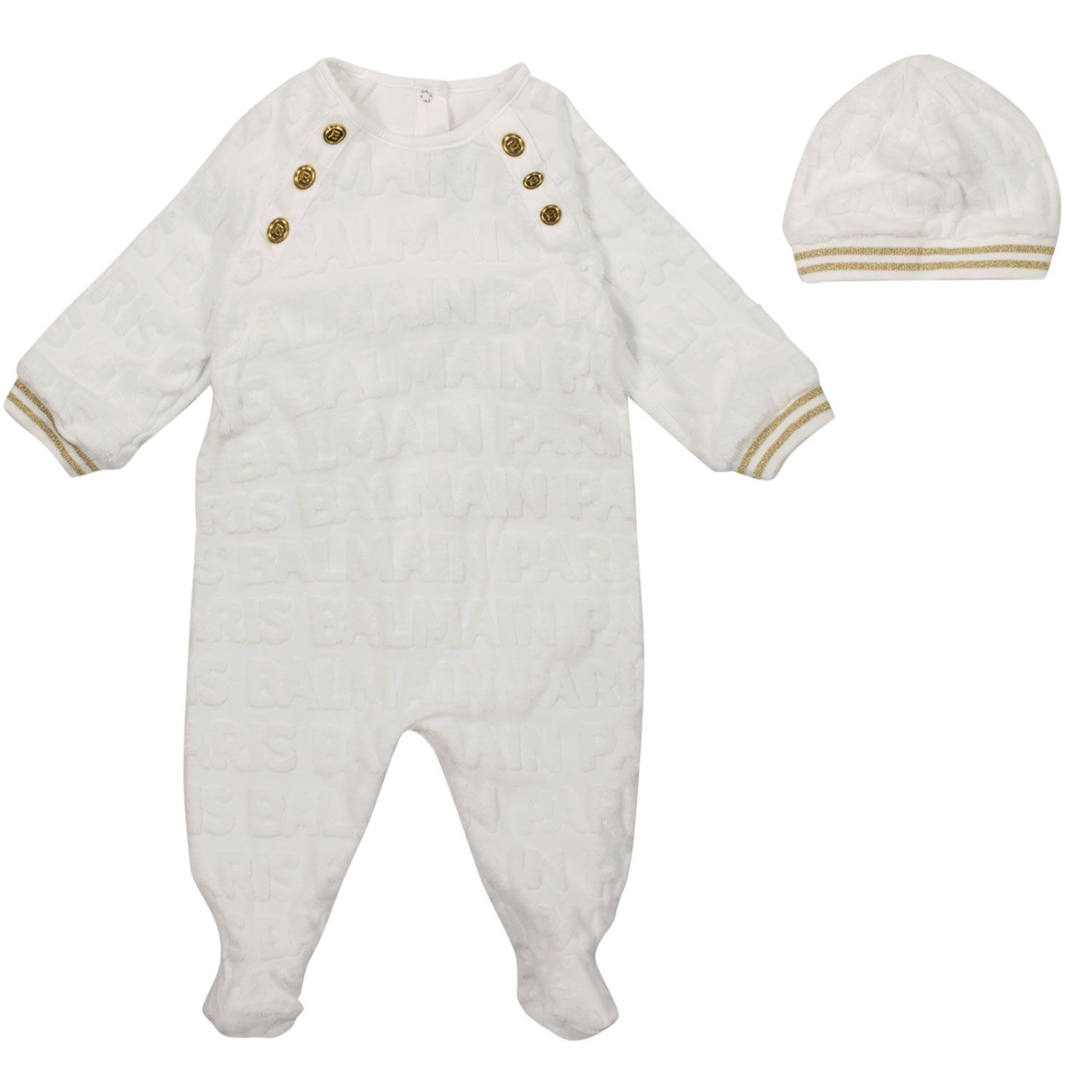 Picture of Balmain 6P8B40 baby playsuit white