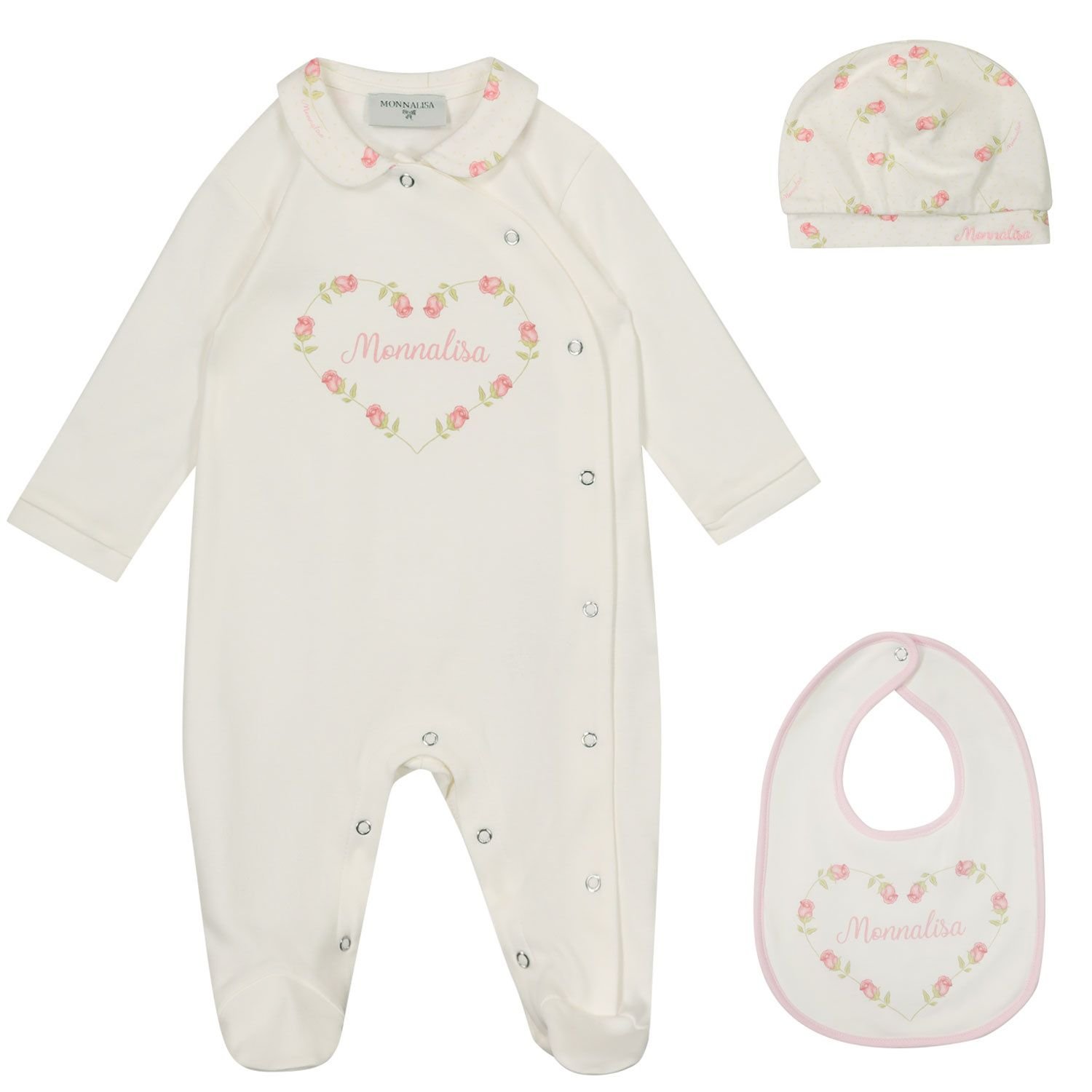 Picture of MonnaLisa 357500S6 baby playsuit off white