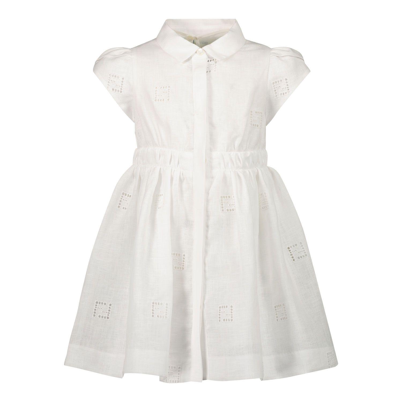 Picture of Fendi BFB366 AEZ5 baby dress white