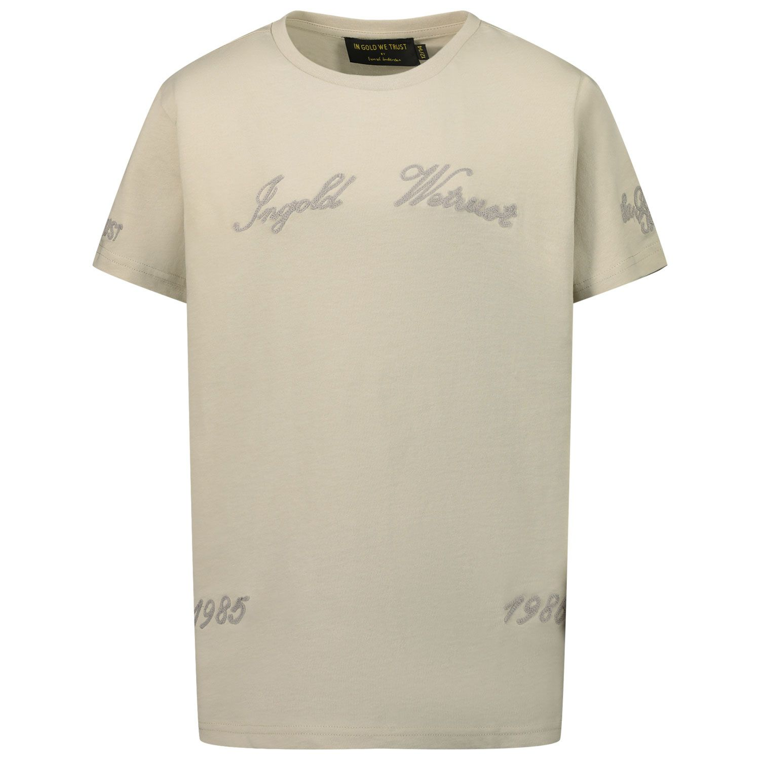 Picture of in Gold We Trust CHAIN EMBROIDERY SHIRT kids t-shirt light beige