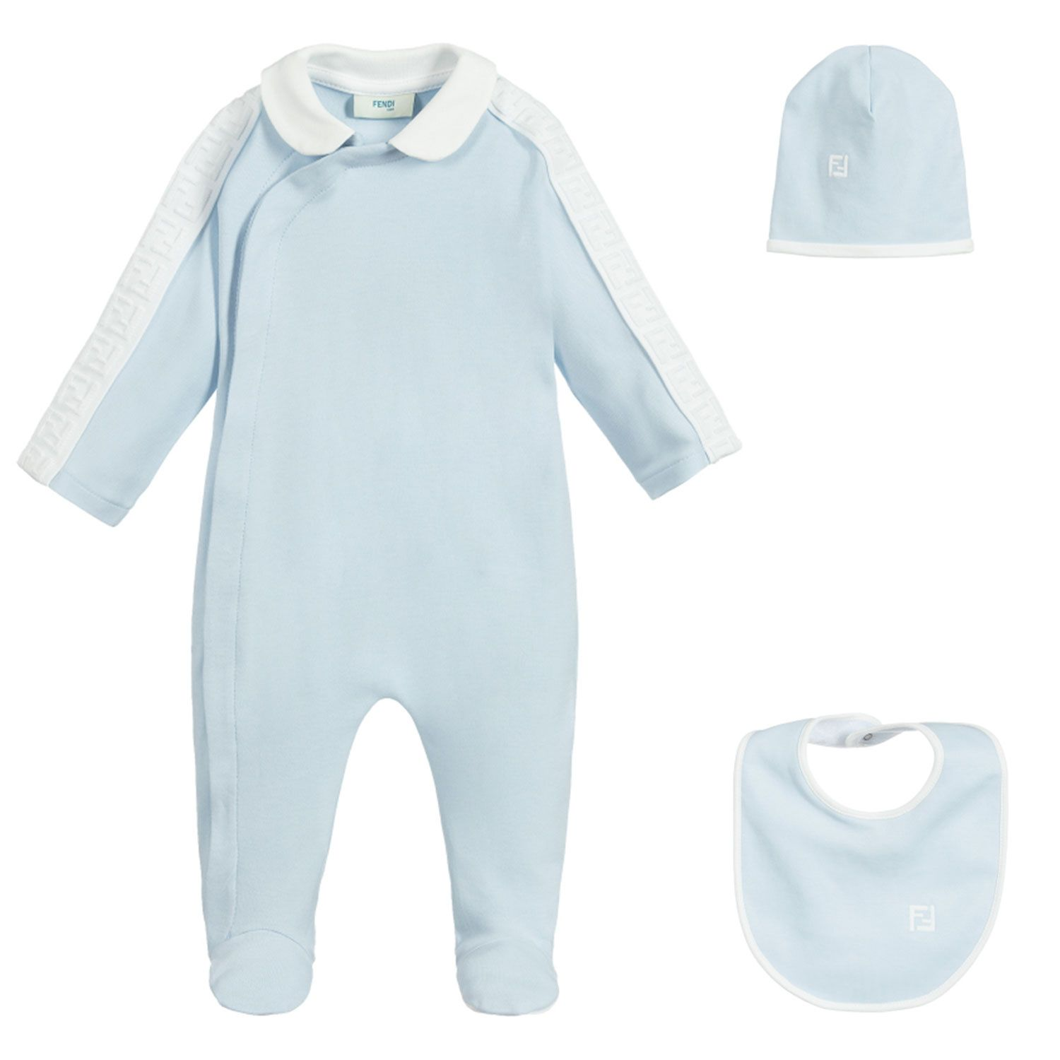 Picture of Fendi BUK062 baby playsuit light blue