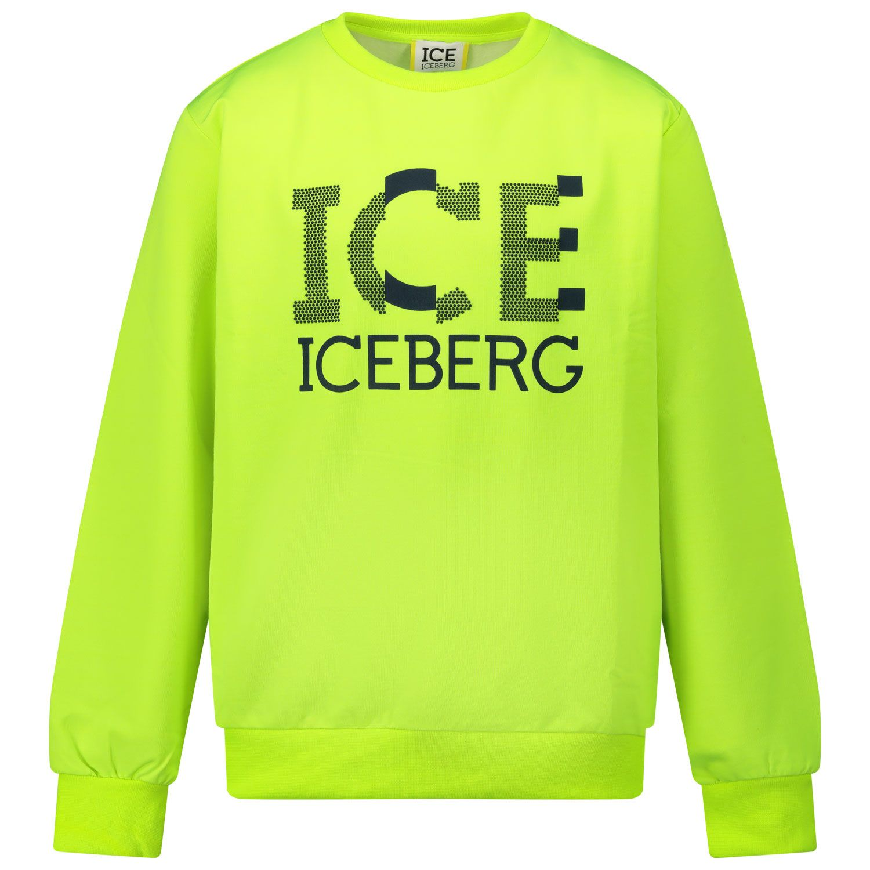 Picture of Iceberg MFICE0336J kids sweater fluoro yellow