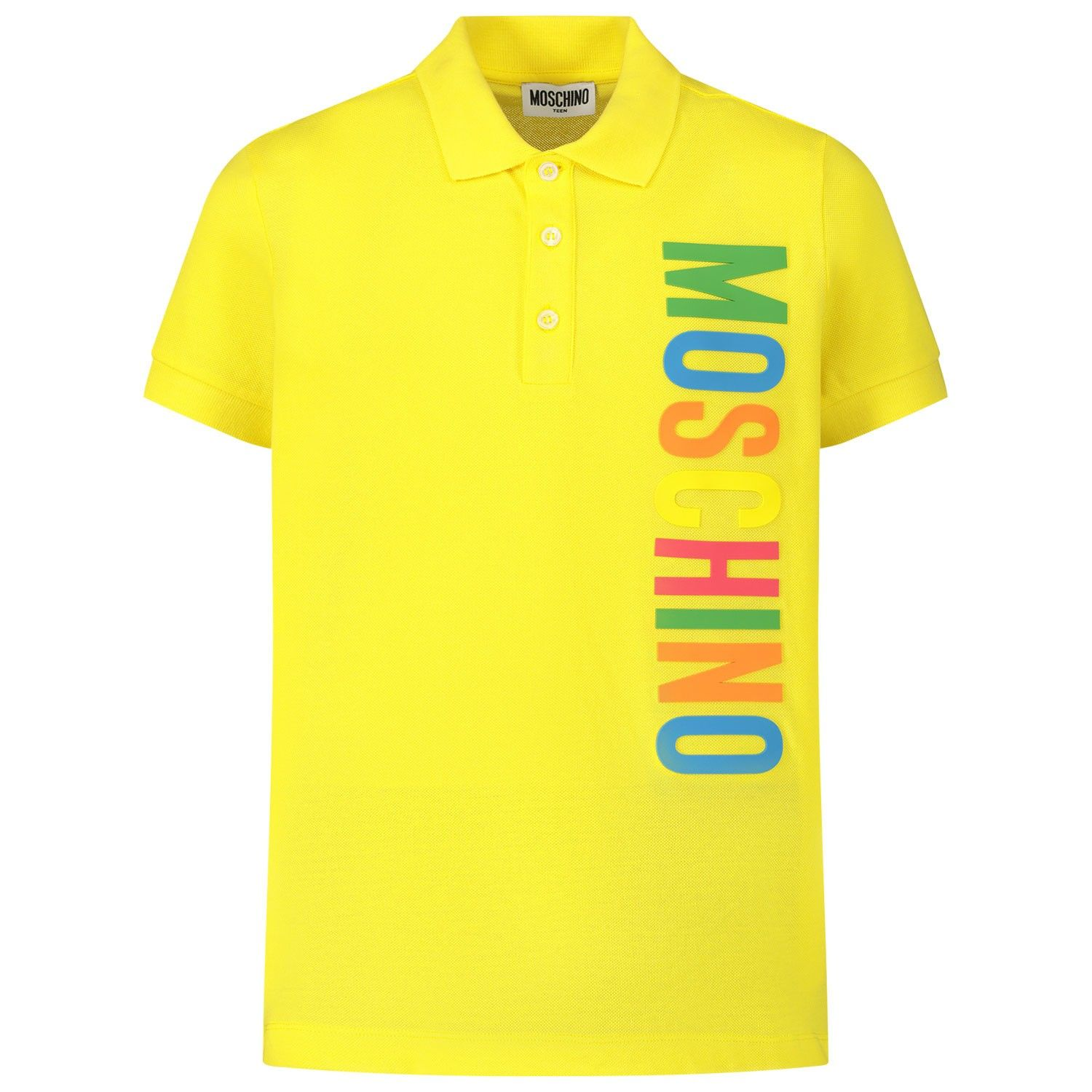 Picture of Moschino HVM01T kids polo shirt yellow