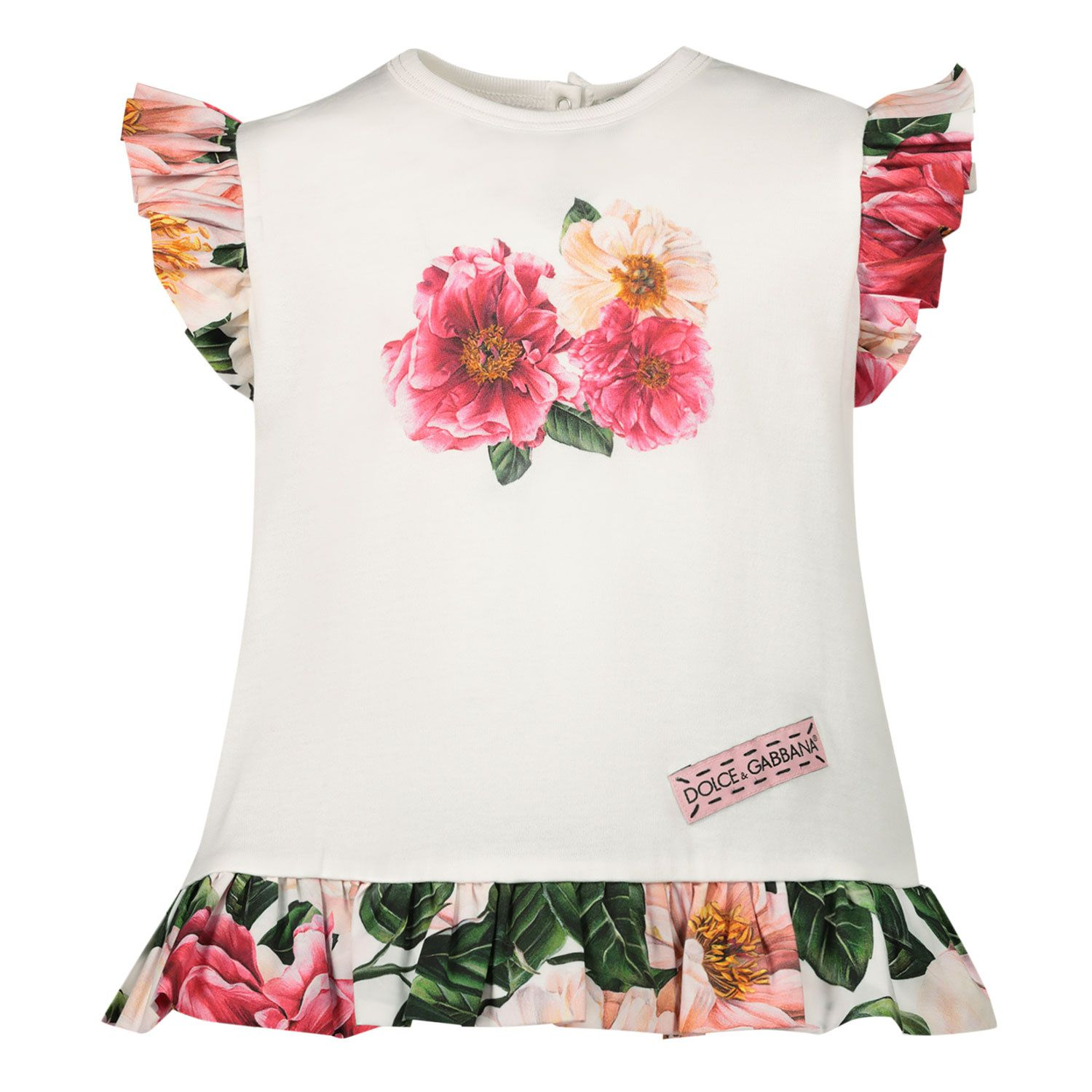 Picture of Dolce & Gabbana L2JTGE G7YFC baby tunic pink