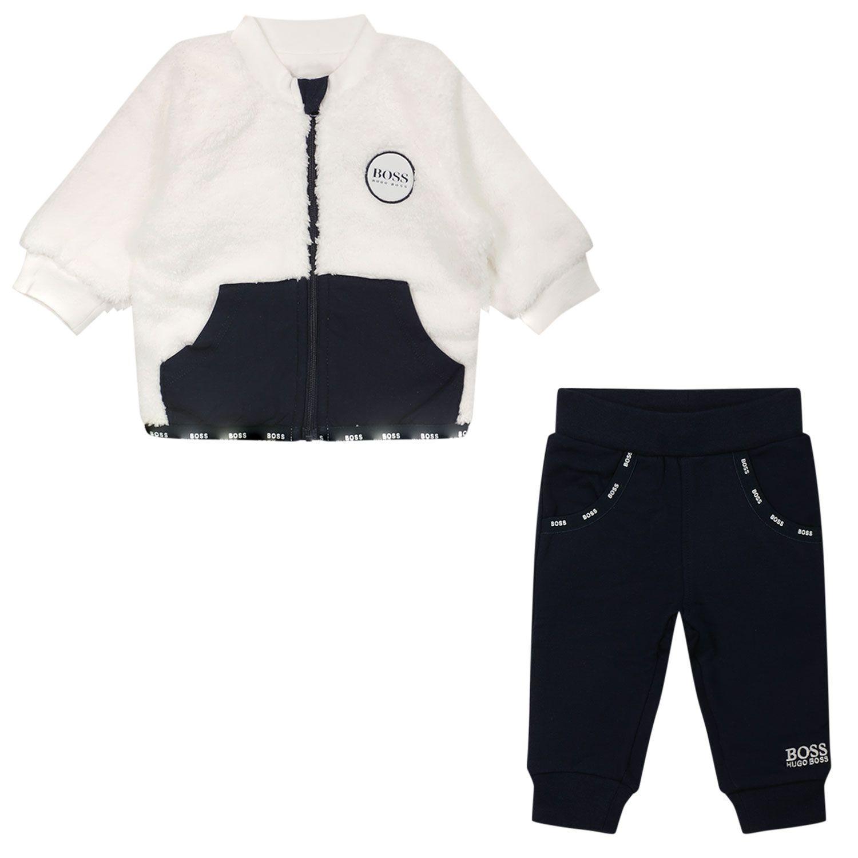 Afbeelding van Boss J98331 baby joggingpak navy/off white