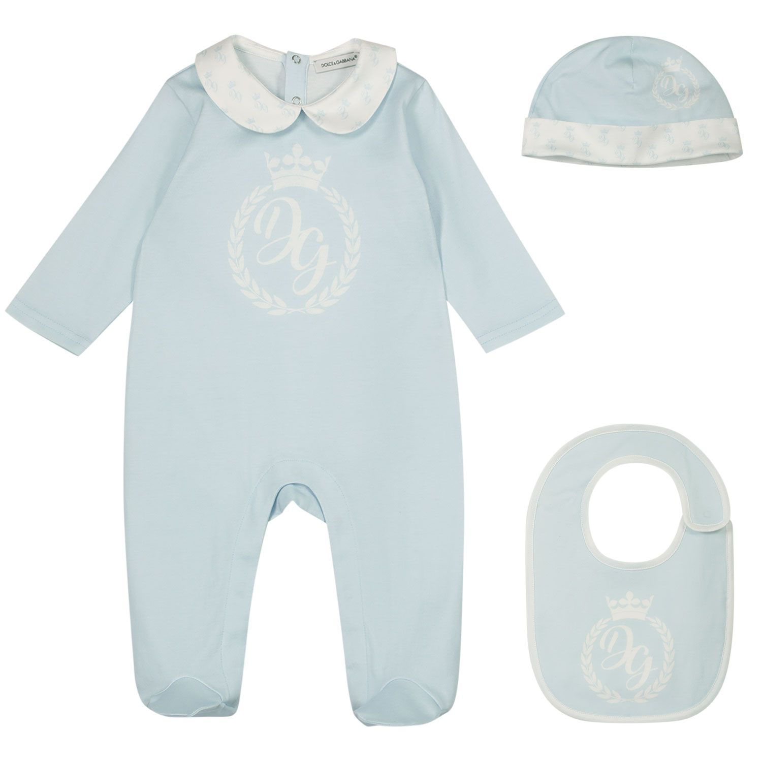 Picture of Dolce & Gabbana L1JG20 G7VVE baby playsuit light blue
