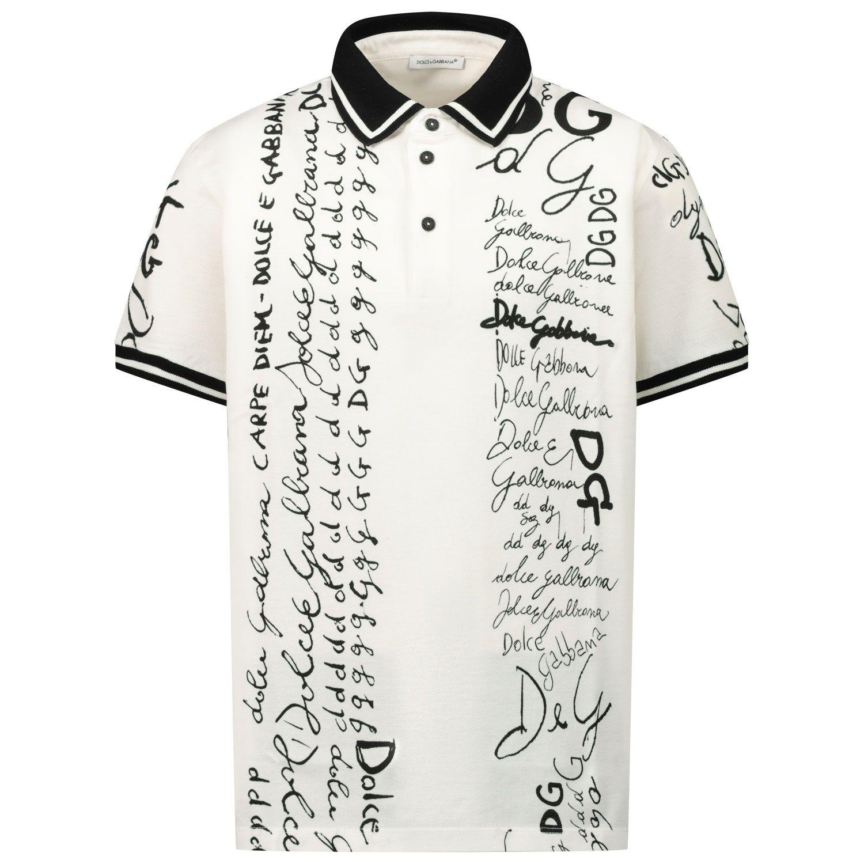 Picture of Dolce & Gabbana L4JT8V/G7XBA kids polo shirt white