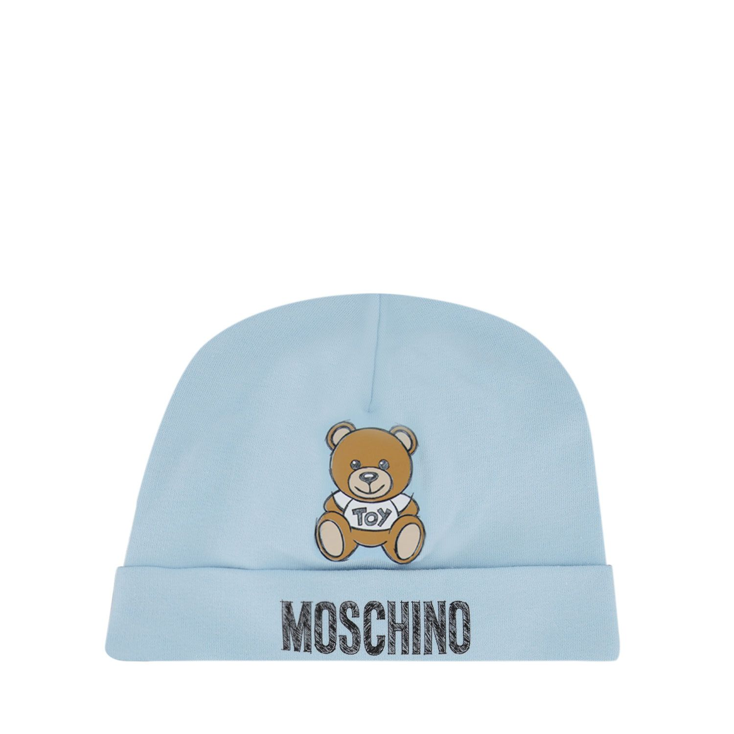 Picture of Moschino MRX031 baby hat light blue