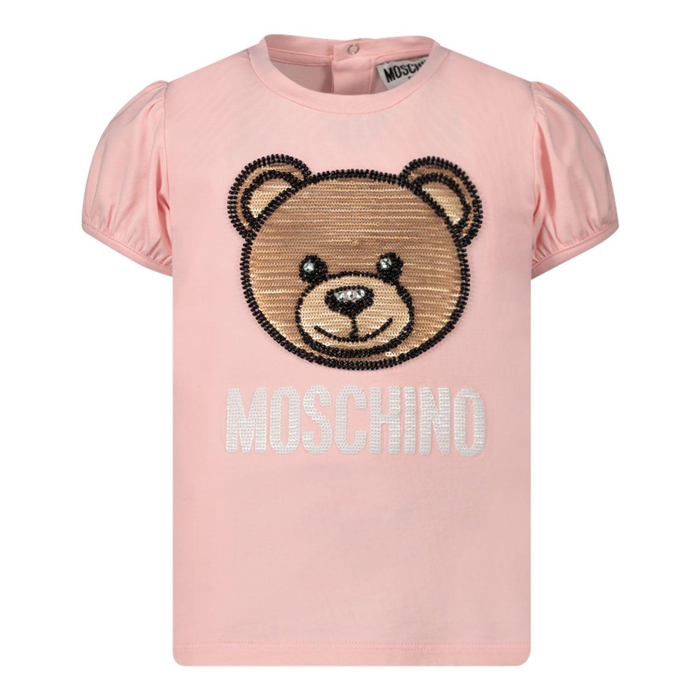 Afbeelding van Moschino MBM02B baby t-shirt licht roze