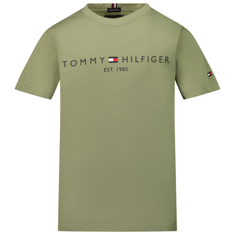 Picture of Tommy Hilfiger KB0KB05844 kids t-shirt olive green