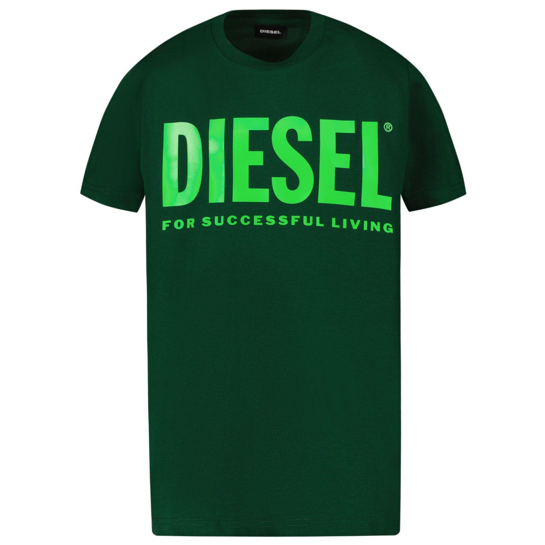 Picture of Diesel 00J4P6 kids t-shirt dark green