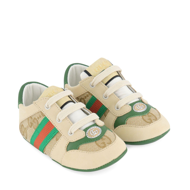 Afbeelding van Gucci 647030 babysneakers groen/beige