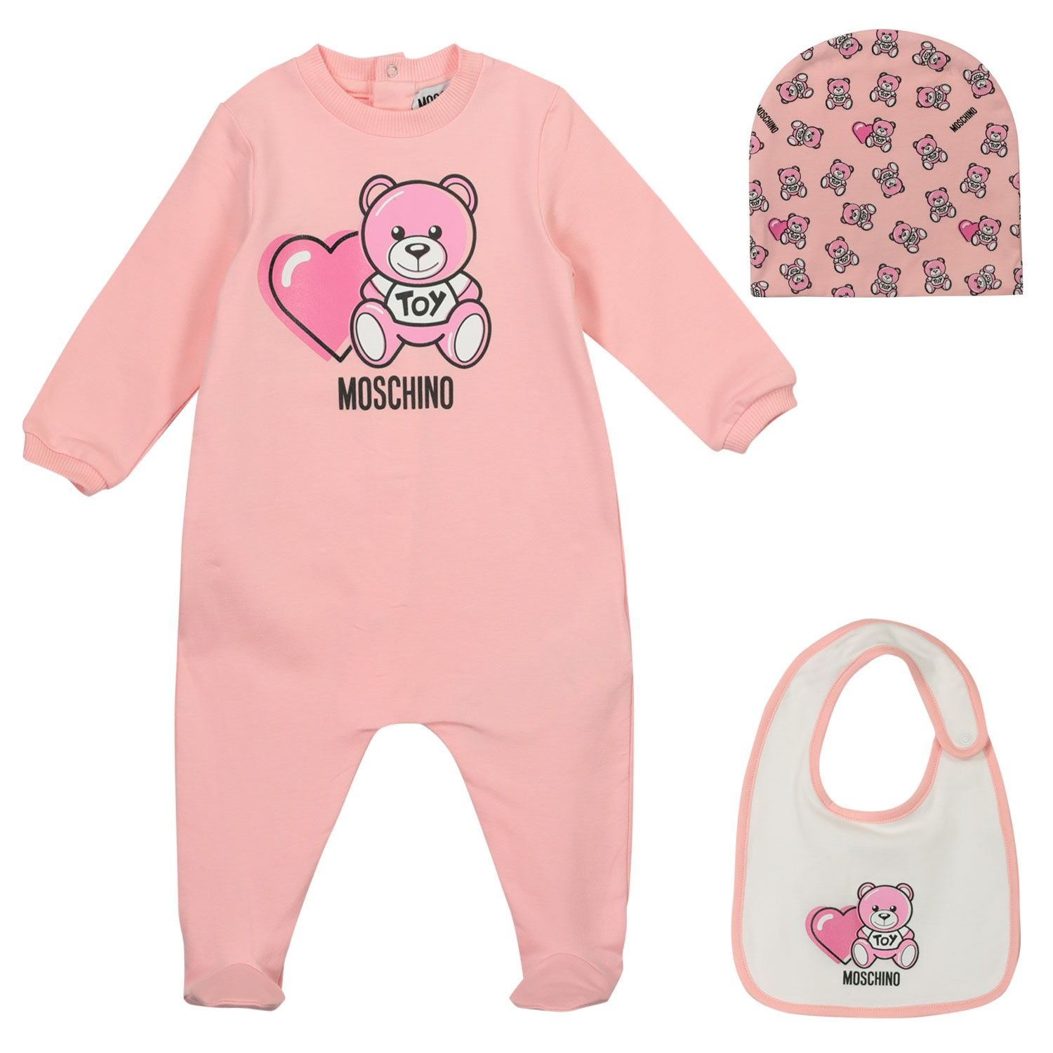 Picture of Moschino MUY03C baby playsuit light pink