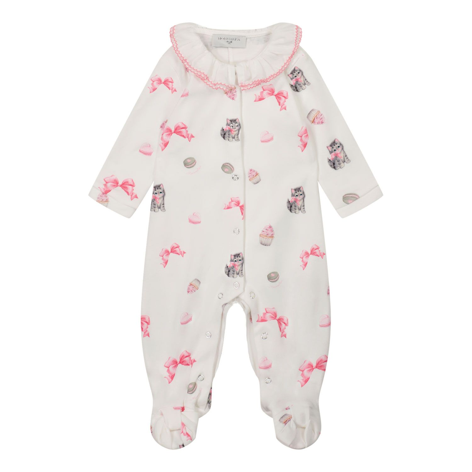 Picture of MonnaLisa 358200 baby playsuit off white