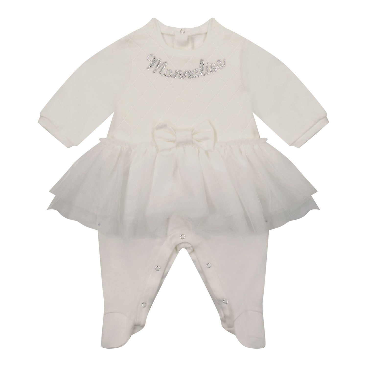 Picture of MonnaLisa 358218 baby playsuit off white