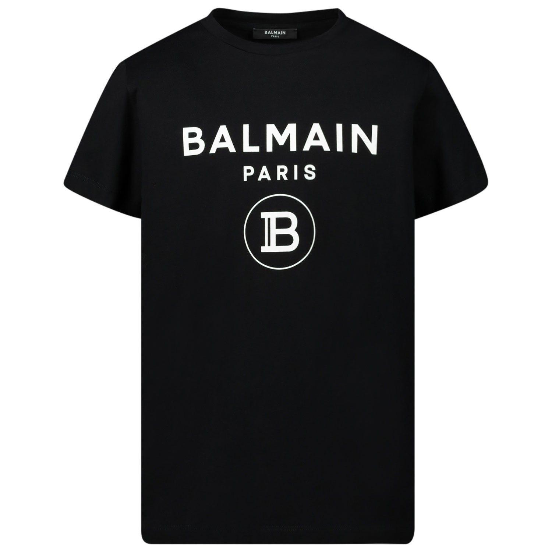 Picture of Balmain 6N8561 kids t-shirt black