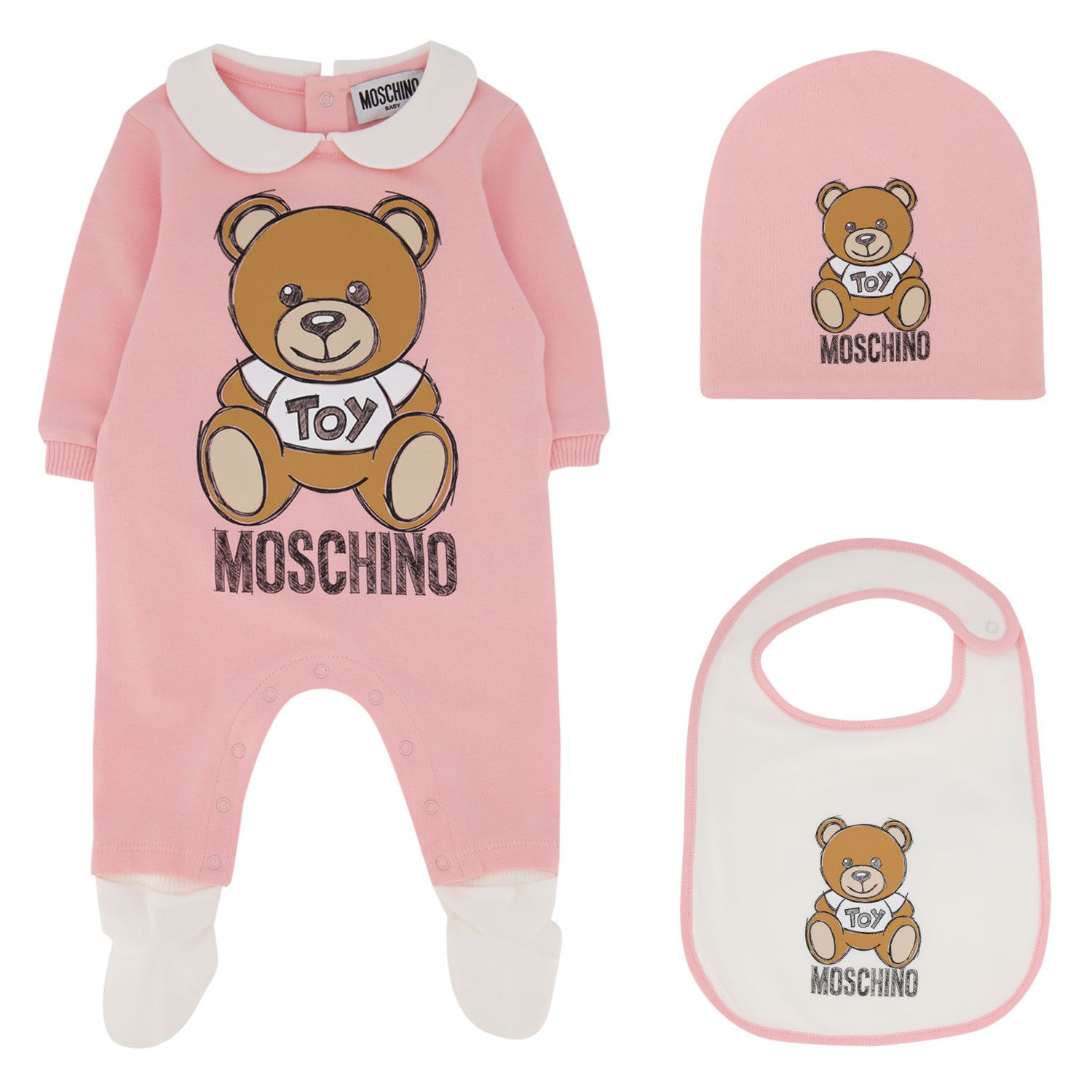 Picture of Moschino MUY033 baby playsuit light pink